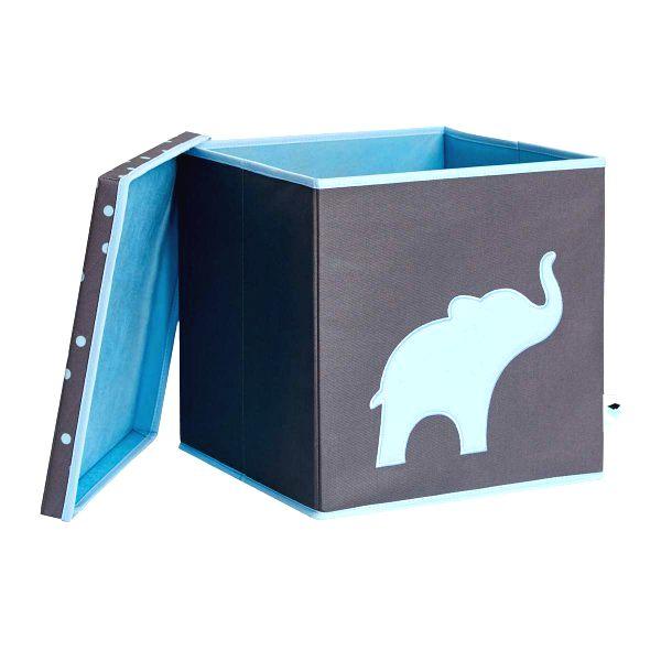 d1ae8838b Úložný box na hračky s krytom - šedý, modrý slon | Detský obchod