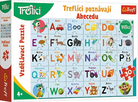 Vzdelávacie puzzle 30 dielikov - Treflíci spoznávajú abecedu CZ / Trefl
